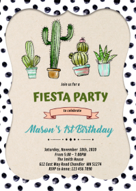 Fiesta cactus birthday invitation A6 template