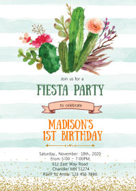 Fiesta cactus birthday party invitation