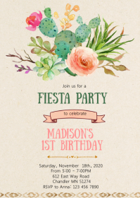 Fiesta cactus birthday party invitation