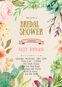 Fiesta floral shower invitation