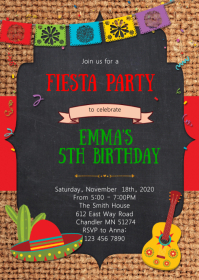 Fiesta party theme invitation A6 template
