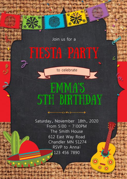 Fiesta party theme invitation
