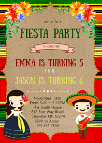 Fiesta sibling birthday party invitation