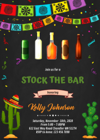 Fiesta stock the bar party invitation A6 template
