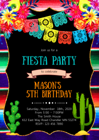 Fiesta sugar skull birthday party invitation A6 template