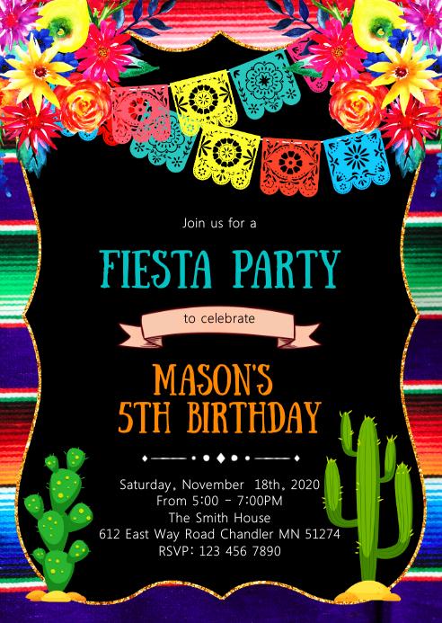 Fiesta sugar skull birthday party invitation