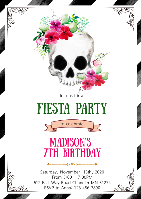 Fiesta Sugar skull birthday party invitation