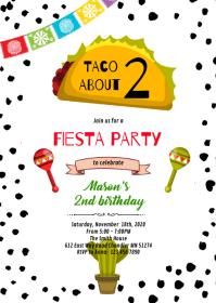 Fiesta taco birthday invitation A6 template