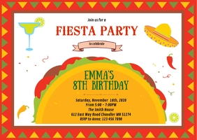 Fiesta tacos birthday party invitation