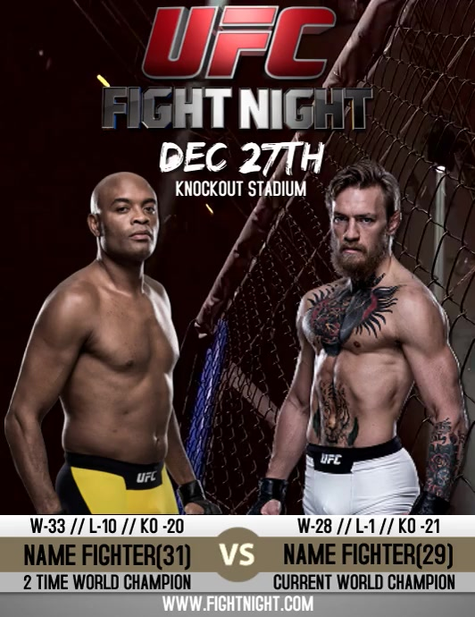 FIGHT NIGHT POSTER VIDEO FLYER TEMPLATE