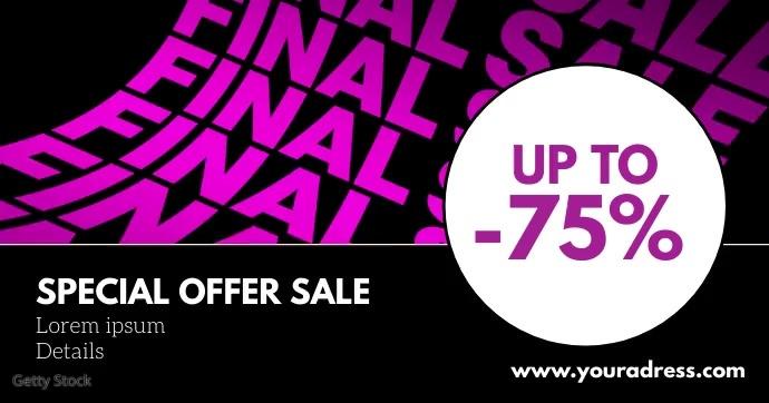 Final Sale Header Banner Cover Price Off Ad delt Facebook-billede template