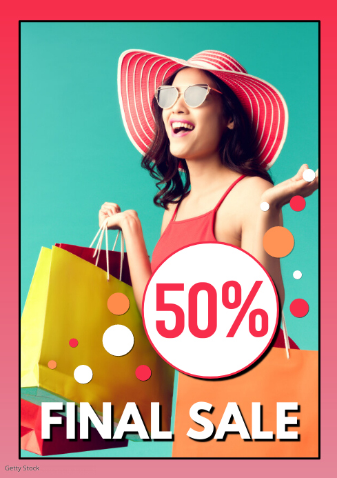 Final Sale Poster fashion Store Shopping Bags Woman Happy Ad A4 template