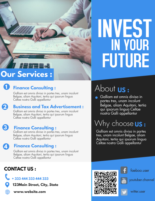 finance and investing flyer design template