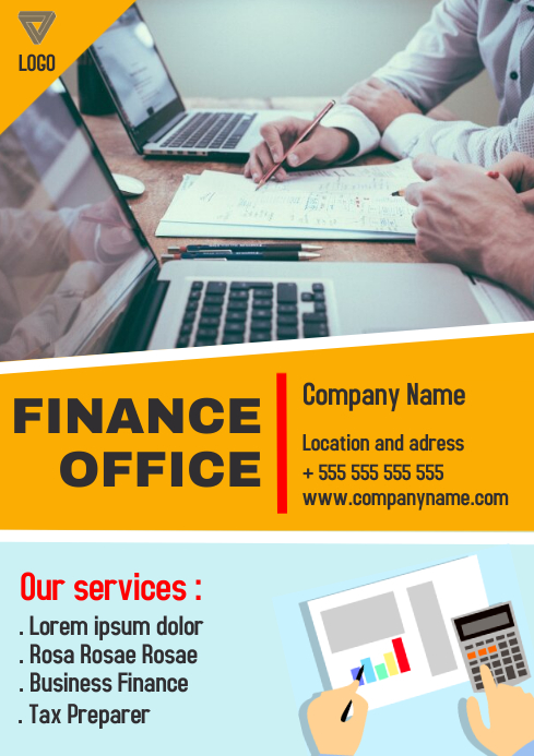 Finance office a4 flyer advertisement template