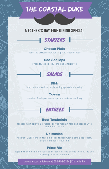 Fine Dining Restaurant Father's Day Menu Kalahating pahina na Wide template