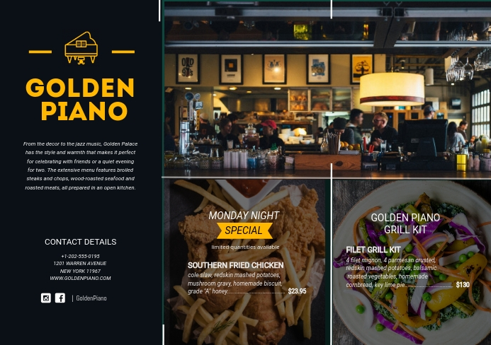 Fine Dining Restaurant Leaflet A5 template
