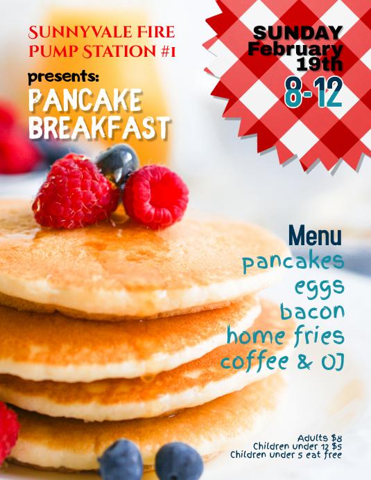 Fire Company Pancake Breakfast Fundraiser Flyer