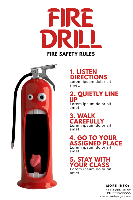 fire drill safety flyer template postermywall