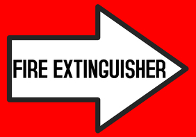 Fire extinguisher red sign with arrow pointing right