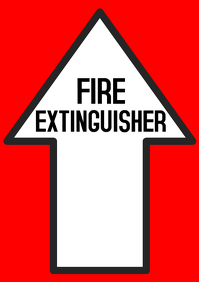 Fire extinguisher red sign with arrow pointing up