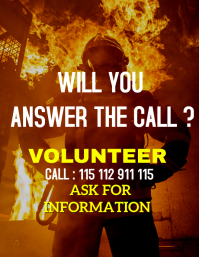 Fire fighter volunteers flyer
