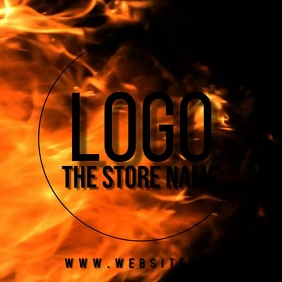 fire flame burning circle logo TEMPLATE Square (1:1)