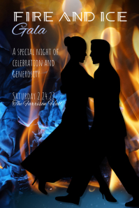Fire Ice Flame Gala Event Poster Flyer template