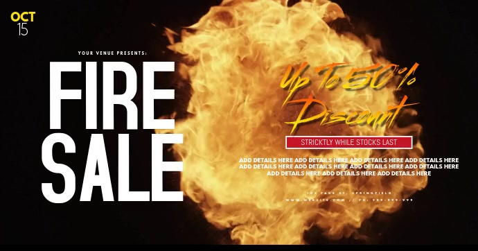Fire Sale Facebook Event Cover Poster template