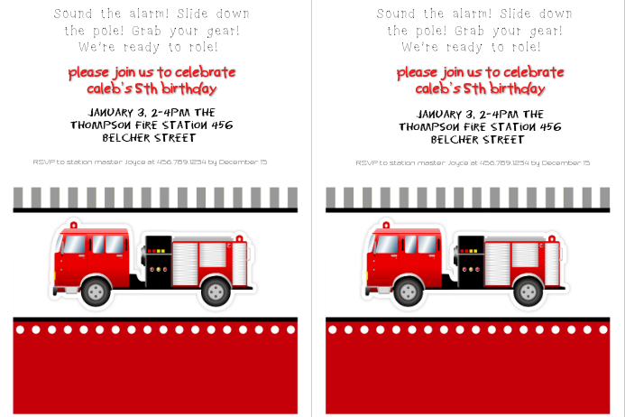 fire truck birthday party invitation template postermywall