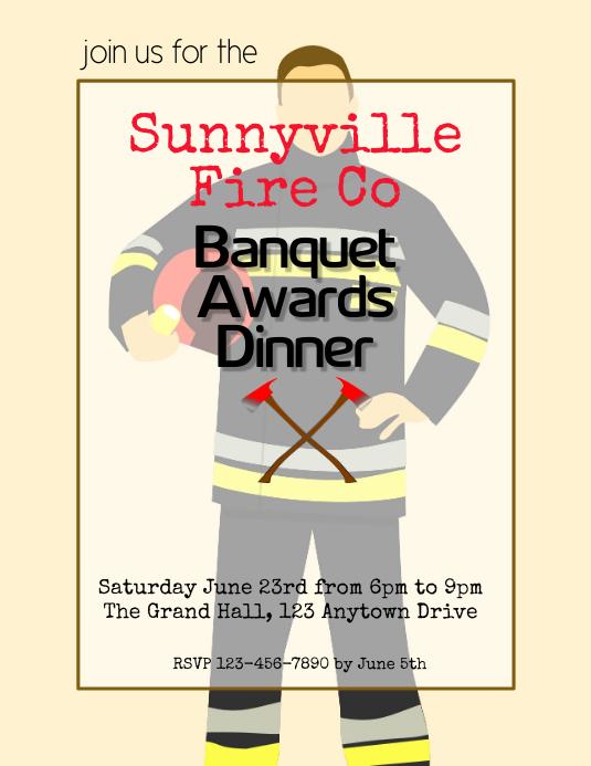 firemens banquet awards dinner flyer template