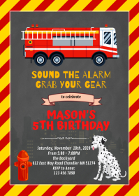 Firetruck and Dalmatian birthday invitation A6 template