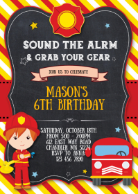 Firetruck fireman birthday party invitation