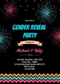 Firework gender reveal party invitation A6 template