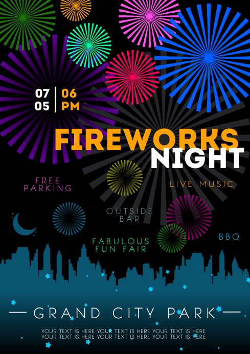 FIREWORKS NIGHT POSTER A4 template