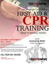 First Aid & CPR Training Video Flyer template