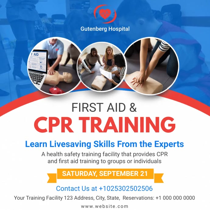 First Aid and CPR Training Service Ad โพสต์บน Instagram template