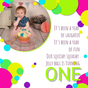 FIRST BIRTHDAY BUBBLES BALL CONFETTI POSTER/ INVITE