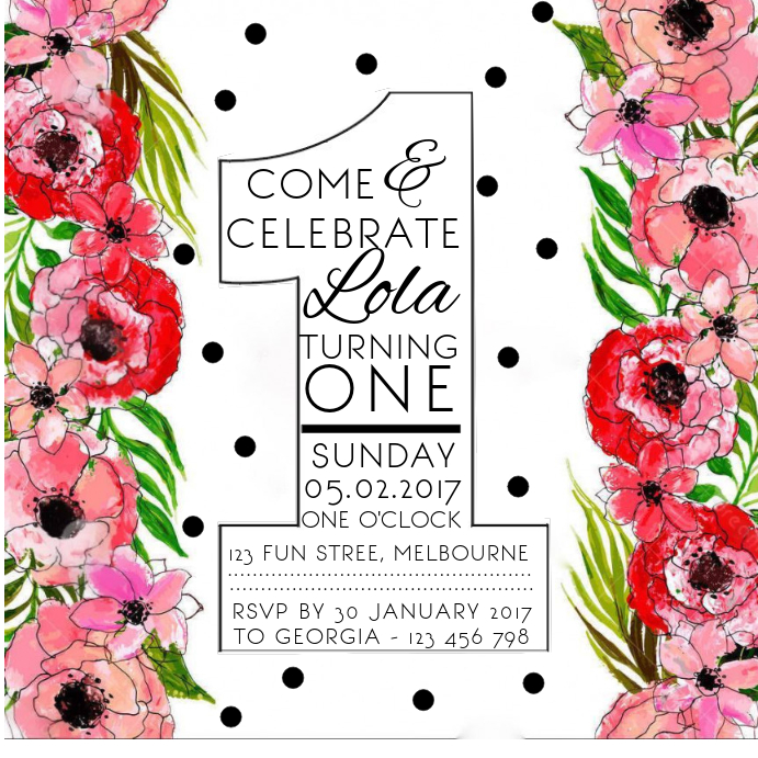 First Birthday Floral Invitation
