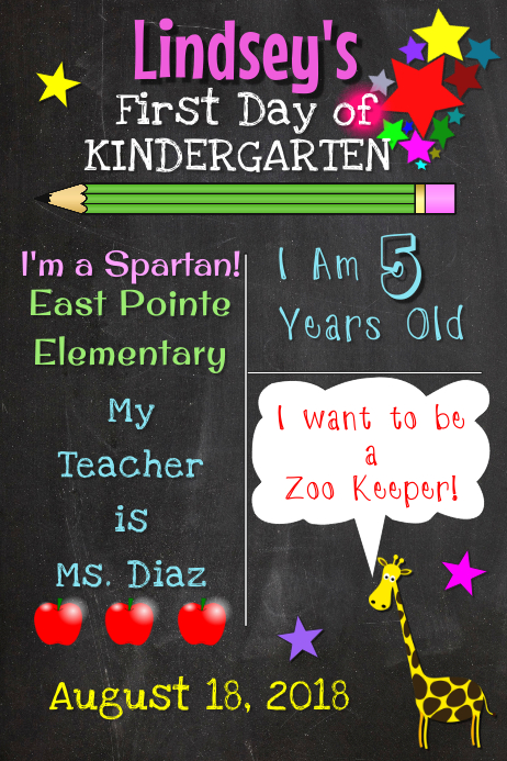 First Day of Kinder Photo Board Cartaz template