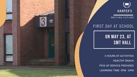 First Day of School Event Video Banner Видеообложка профиля Facebook (16:9) template