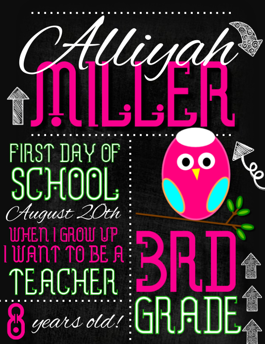 It's just a photo of Juicy First Day of School Template Printable