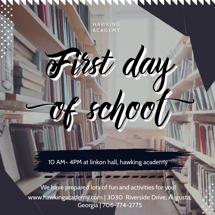 First Day of School Library Event Invite