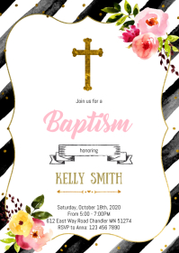First holy communion party invitation A6 template