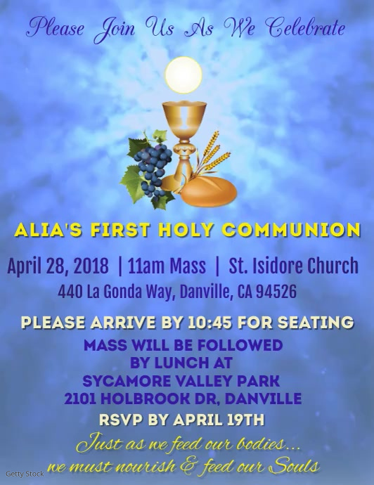 First Holy Communion Video Folder (US Letter) template