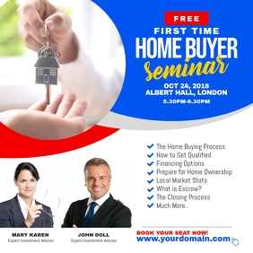 First Time Home Buyer Seminar Flyer Square (1:1) template