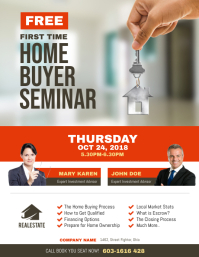 First Time Home Buyer Seminar Flyer Рекламная листовка (US Letter) template