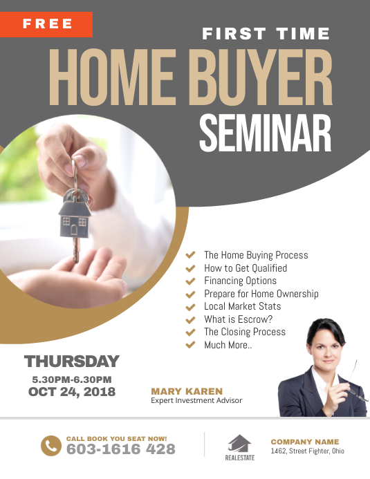 First Time Home Buyer Seminar Flyer Volante (Carta US) template