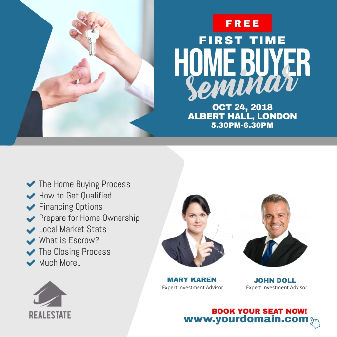 First Time Home Buyer Seminar Flyer Vierkant (1:1) template