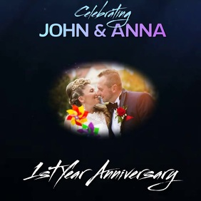 first year wedding anniversary SOCIAL MEDIA Logo template
