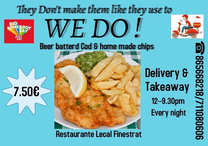 fish & chips flyer A4 template